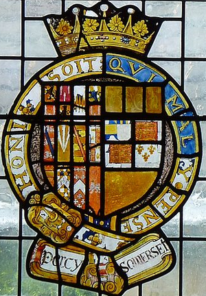 Thomas Percy, 7th Earl of Northumberland - 17th century stained glass escutcheon showing arms of Thomas Percy, 7th Earl of Northumberland (1528–1572), KG, (with 11 quarters) impaling Somerset (glass damaged/incomplete), paternal arms of his wife Anne Somerset, daughter of Henry Somerset, 2nd Earl of Worcester, the whole circumscribed by the Garter. Detail from Percy Window, Petworth House, Sussex