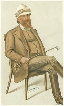 Colour painting of Lumsden sitting down, holding a riding whip.