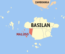 Map of Basilan with Maluso highlighted