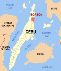Map of Cebu with Borbon highlighted
