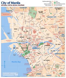 Map of Manila with landmarks highlighted.