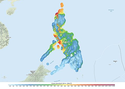 Philippines wind power density map at 100 m above surface level. Philippines Wind Power Density Map.jpg