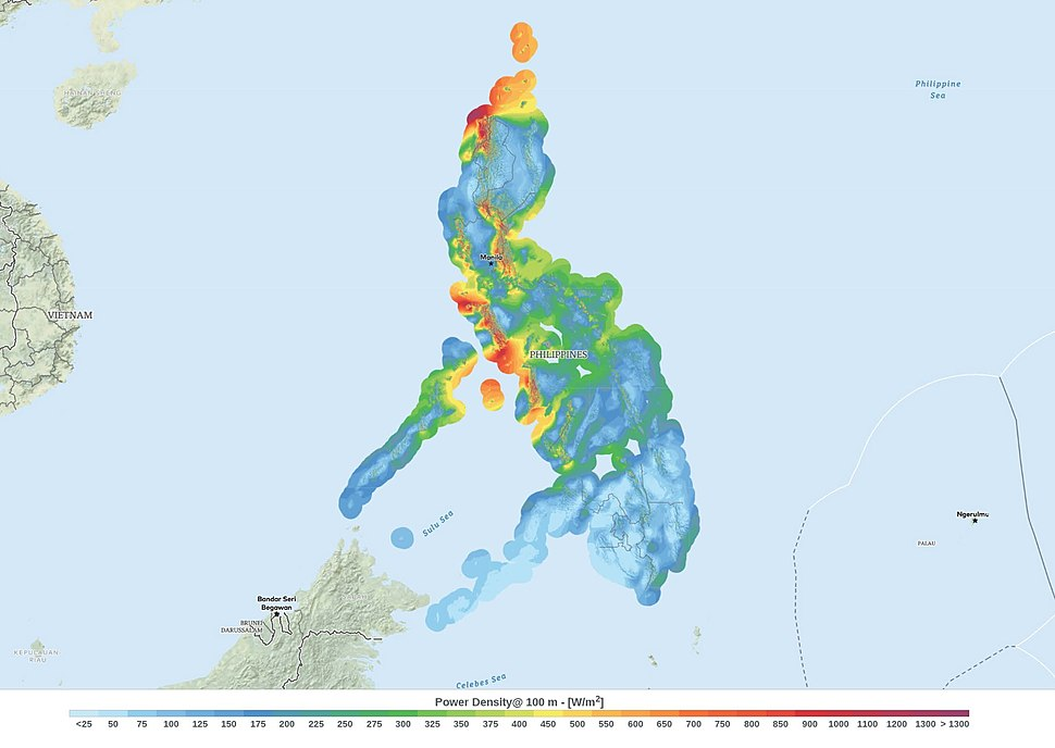 Philippines Wind Power Density Map
