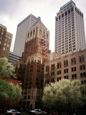 Philtower Building - The Philtower (center) set against several other downtown Tulsa buildings