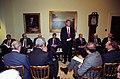 Photograph of President William J. Clinton Addressing a Bipartisan Leadership Meeting Regarding Somalia - NARA - 3887361.jpg