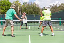 A doubles game of pickleball at the Villages in Florida.
