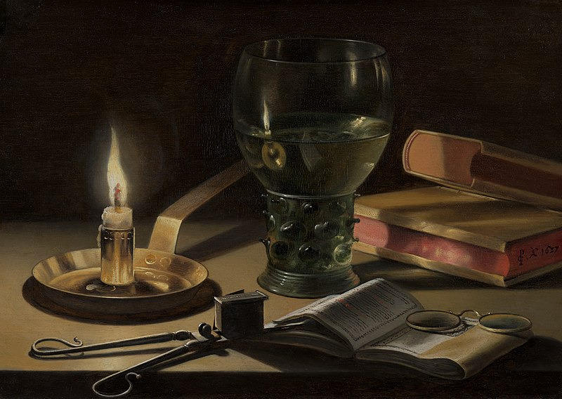 Pieter Claesz, Still Life with Lighted Candle, 1627, Mauritshuis, The Hague, Netherlands.
