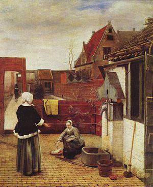 A Woman with a Basket of Beans in a Garden - Image: Pieter de Hooch 010