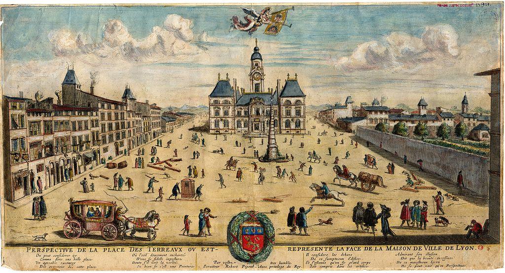 Avant/Après Place des Terreaux avant la construction de l'Abbaye devenu Palais Saint Pierre accueillant aujourd'hui le musée des Beaux Arts de Lyon.
