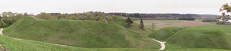 Lithuanian ancient hill fort mounds in Kernavė, now listed as a UNESCO World Heritage Site.