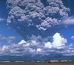 File photo of ash plume from eruption of Mount Pinatubo in the Philippines, 1991. Image: D. Harlow.