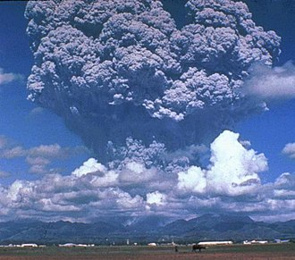 Eruption column - Eruption column over Mount Pinatubo in the Philippines, 1991