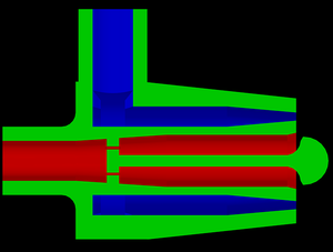 Pintle injector - Another view, showing more clearly how fuel and oxidizer flow.