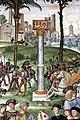 Pinturicchio, liberia piccolomini, 1502-07 circa, Enea Silvio, vescovo di Siena, presenta Eleonora di Portogallo all'imperatore Federico III 03 colonna del portogallo.JPG