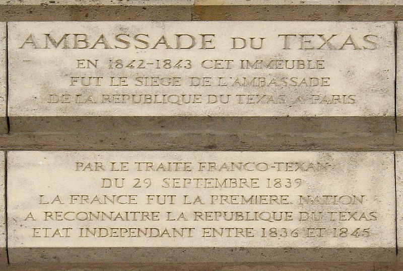 Fichier:Plaque Ambassade du Texas, 1 place Vendôme, Paris 1.jpg