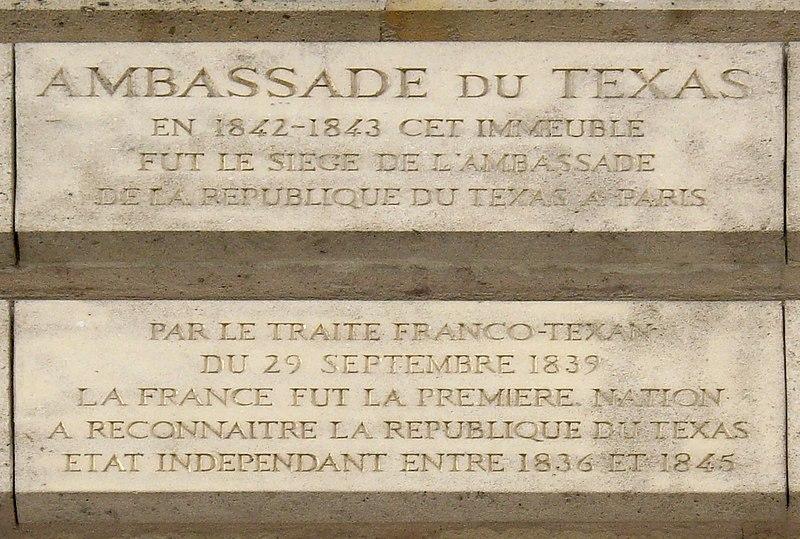 Fichier:Plaque Ambassade du Texas, 1 place Vendôme, Paris 1.jpg
