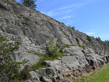 Glacially plucked granitic bedrock near Mariehamn, Aland Islands PluckedGraniteAlandIslands.JPG
