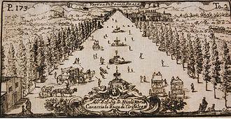 Poggio Reale (villa) - Villa Poggio Reale, 1718 drawing published by Domenico Antonio Parrino