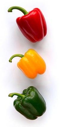 Three bellpeppers (Capsicum annuum) from three...