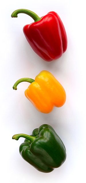 English: Three bellpeppers (Capsicum annuum) f...