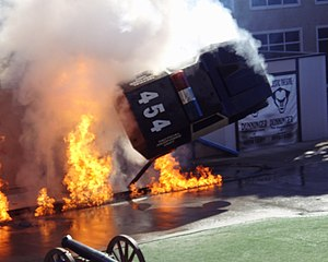 Police Academy Stunt Show - Image: Police Academy Stunt Show explosion and car flip