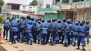 Law enforcement in Burundi - Burundian riot police in action in April 2015 against anti-government protestors during the ongoing popular unrest