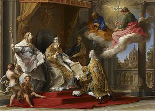Pope Benedict XIV presenting the Encyclical 'Ex Omnibus' to the Comte de Stainville, later Duc de Choiseul