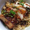 Pork belly and garlic fried rice bowl. -porkbelly -sousvide -garlic -friedrice (14575185663).jpg