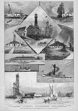 South Pass Light - Image: Port Eads Harpers 1884