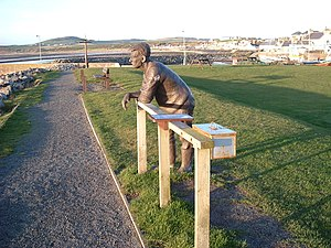 Port William, Dumfries and Galloway - Bronze statue of a fisherman on the sea-front (Mochrum) by Andrew Brown (1999)