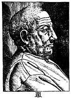 Portrait woodcut engraving by Giovanni Caroto from Sarayna 1540 reproduced in Rosenfeld (Dover 1996) at Google Books.jpg
