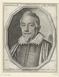 Portret van Antonio Tempesta Antonius Tempesta pictor florentinus (titel op object), RP-P-1918-1773.jpg