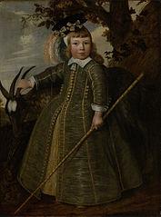 Portrait d'un jeune garçon avec un bouc
