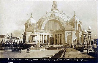 Panama–Pacific International Exposition - Image: Postcard San Francisco CA Pan Pacific Expo Festival Hall 1915