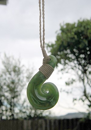 A pounamu pendant, photographed in Dunedin, Ne...
