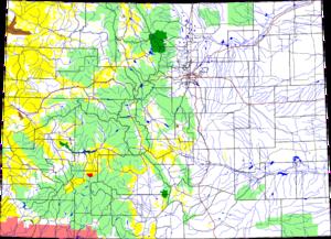 Powderhorn Wilderness - Location of Powderhorn Wilderness in Colorado in red
