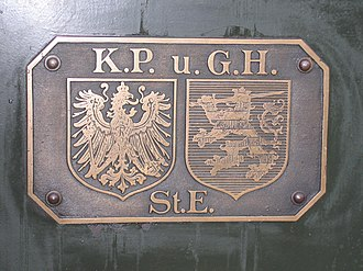 Prussian-Hessian Railway Company - Letters: Königlich Preußische und Großherzoglich Hessische Staats-Eisenbahn (Royal Prussian and Grand-Ducal Hessian State Railways); left: Prussian arms; right: Hessian arms.