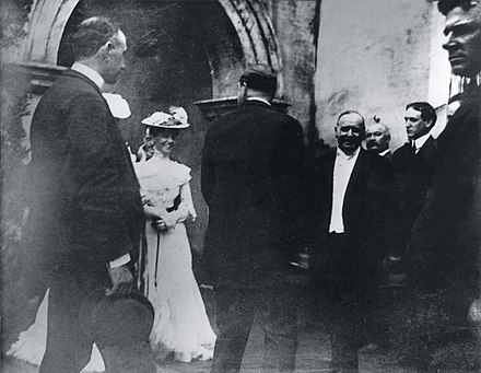 President McKinley greeting Well-Wishers at a reception in the Temple of Music on September 6, 1901, just minutes before he was shot. President McKinley Greeting Well-Wishers at a Reception in the Temple of Music. September 6, 1901 (minutes before he was shot).jpg