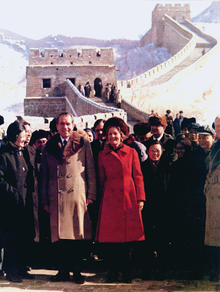 The Nixons on the Great Wall of China during their historic trip, 1972