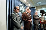 President Ronald Reagan with William Rehnquist, Warren Burger, and Antonin Scalia.jpg