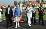 Prime Minister Narendra Modi inspects a guard of honour in Kochi, Kerala.jpg
