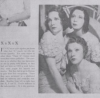 Three X Sisters - As portrayed in a Radio Digest magazine article, 1932.