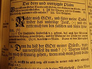 Psalm 43 - Beginning of the psalms in a German Kurfürstenbibel from 1768
