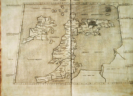"A 1490 Italian reconstruction of the relevant map of Ptolemy who combined the lines of roads and of the coasting expeditions during the first century of Roman occupation. Two great faults, however, are an eastward-projecting Scotland and none of Ireland seen to be at the same latitude of Wales, which may have been if Ptolemy used Pytheas' measurements of latitude.[28] Whether he did so is a much debated issue. This ""copy"" appears in blue below."