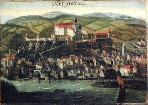 Ptuj Castle - A painting of Ptuj dated 1687. The castle stands on the top of the hill overlooking the town.