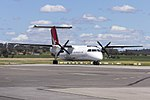 """QantasLink (VH-SBV) Bombardier DHC-8-315Q Dash 8, in new QantasLink """"new roo"""" livery, taxiing at Wagga Wagga Airport.jpg"""