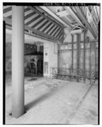 Quincy, MA, BO-37, Launch Area, Underground Missile Storage Structure, interior view of elevator system with overhead doors in open position and hydraulic shaft in left foreground HAER RI,4-FOST,1A-46