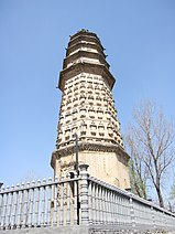 A wide, octagonal pagoda. It has four tall, functional floors made of brick, and an additional five, short, purely decorative floors made of wood, each floor is separated by an eave, and the top five floor's eaves look as if they were simply stacked right on top of one another.