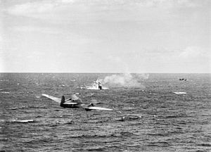 RAF Beaufighters attack convoy off Crete 1944.jpg