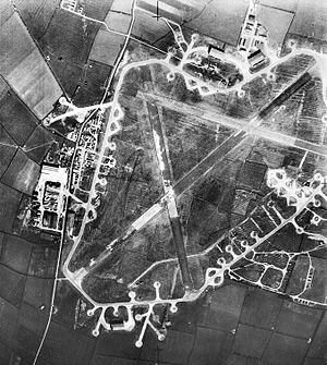 RAF Langar - Aerial photograph of RAF Langar airfield, the control tower and technical site are at the left, the bomb dump is to the right, 17 April 1945